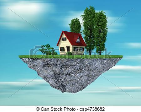 Clip Art of Dream house concept.