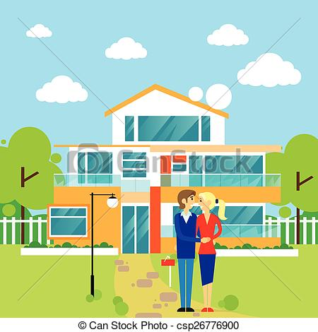 Vector Clipart of couple embracing in front of new big modern.