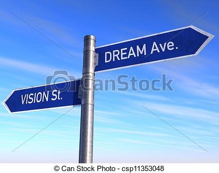 Drawing of Road Sign Vision, st. Dream Ave. csp11353048.