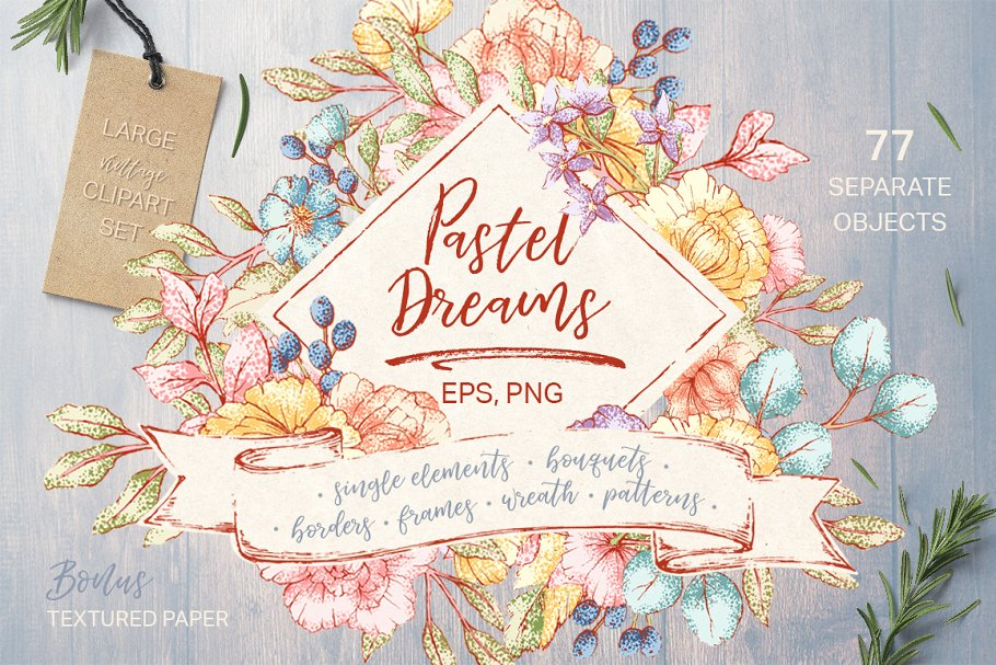 Pastel Dreams: vector clipart ~ Illustrations ~ Creative Market.