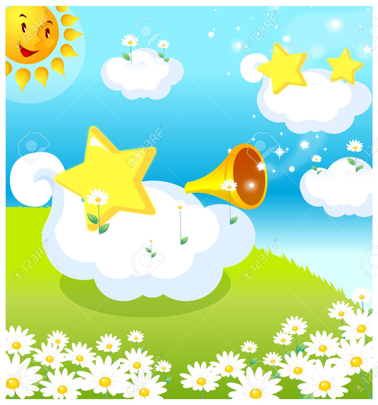 This Illustration Depicts A Young Child's Dream World. Sun, Clouds.