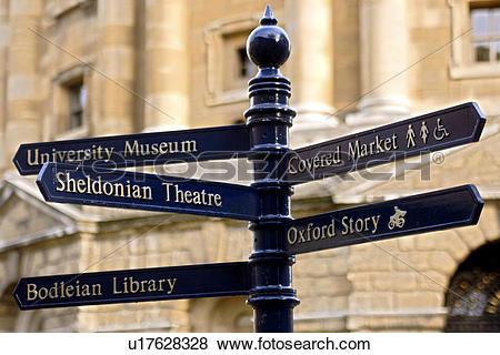 Pictures of England, Oxfordshire, Oxford, Signpost in the town of.