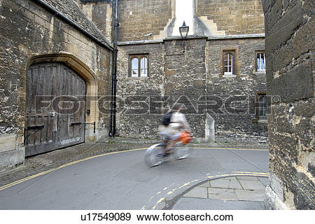 Stock Photograph of England, Oxfordshire, Oxford, A cyclist in the.