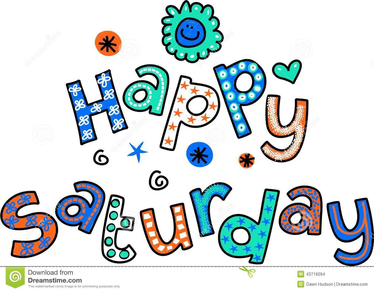 Happy Saturday Cartoon Text Clipart Stock Illustration.