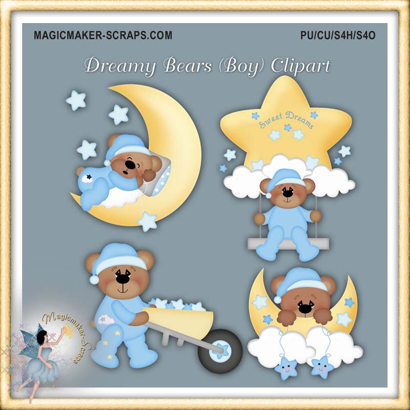 Dreamy Bears Boy Clipart [Kristi W Design].