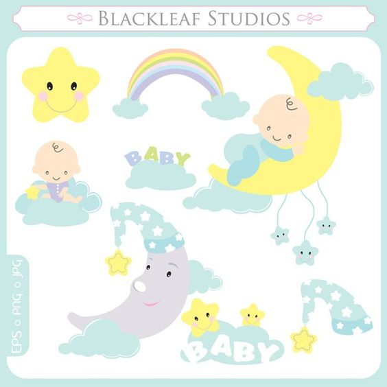 Sweet Dreams Clip Art Instant Download sleep time, baby shower.