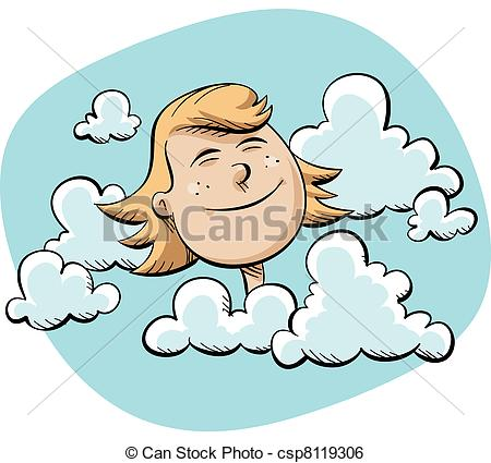 Stock Illustration of Head in the Clouds.