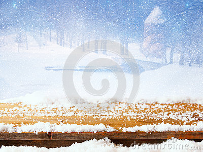 Empty Table In Front Of Dreamy And Magical Winter Landscape Stock.
