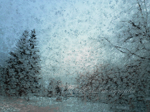 Winter frost photo icy blue winter window by BlackCatPhotographs.