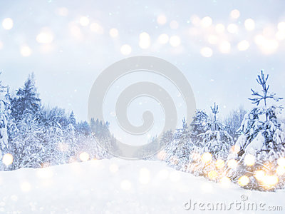 Dreamy And Abstract Winter Landscape Photo. Glitter Overlay Stock.