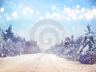 Dreamy And Abstract Magical Winter Landscape Background Stock.