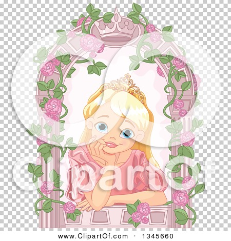 Clipart of a Happy Blond, Blue Eyed Caucasian Princess with a.