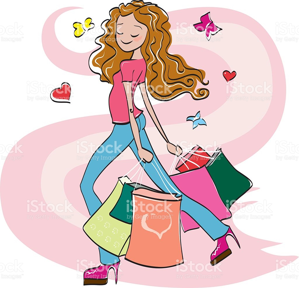 Young Dreamy Girl With Hands Full Of Shopping Bags stock vector.