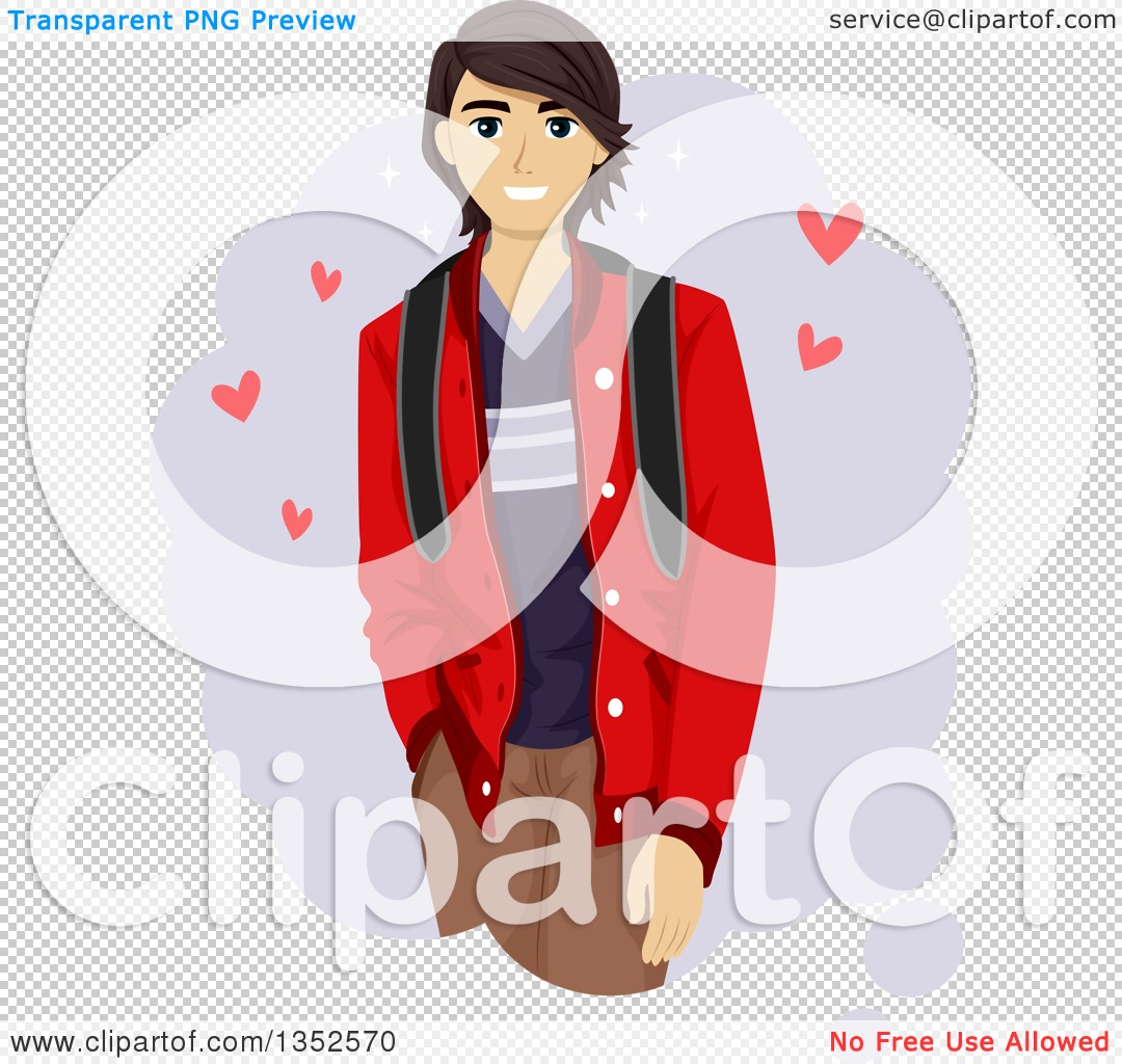 Clipart of a Dreamy Brunette Male Teenager with Hearts.