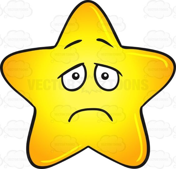 Single Gold Star Cartoon With Depressed Look On Face Emoji.