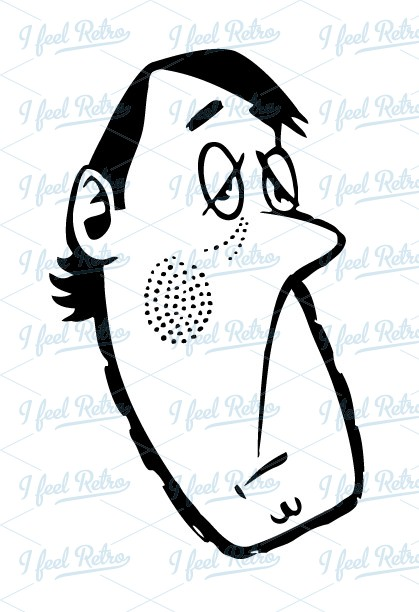 Retro Clipart: Man looking bored.