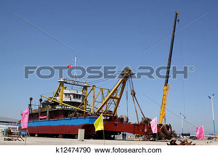 Stock Illustrations of cutter suction dredger k12474790.
