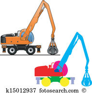 Grapple dredger Clip Art Vector Graphics. 3 grapple dredger EPS.