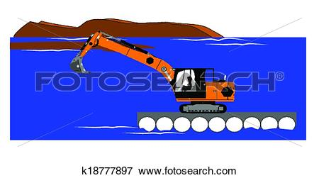 Clip Art of dredging operation k18777897.