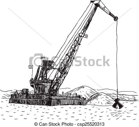 Vector Clip Art of Huge crane barge Industrial ship that digs sand.