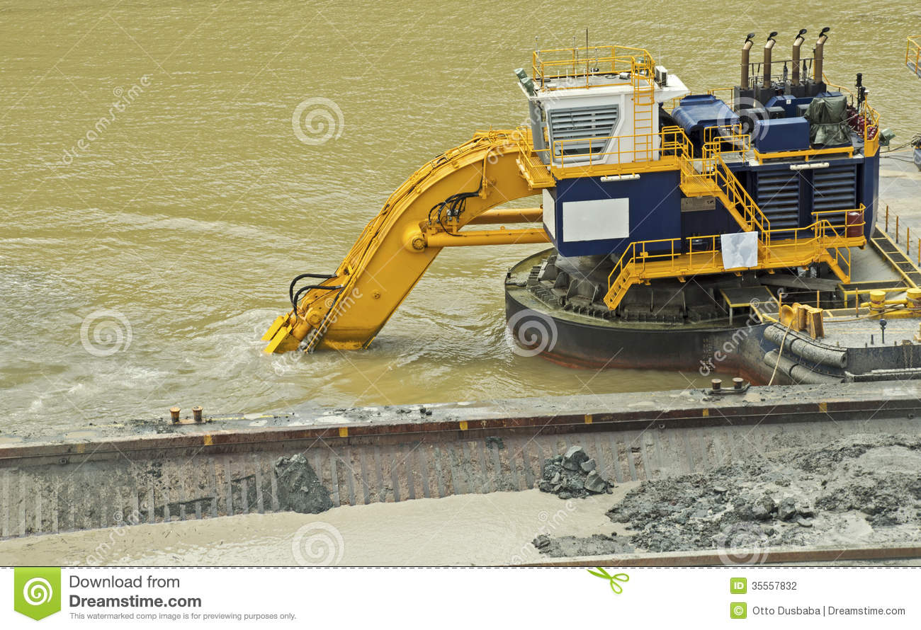 Dredging In The Panama Canal Stock Photography.