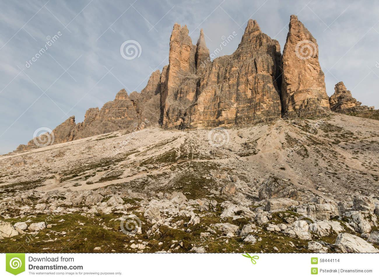 Drei Zinnen, Dolomites, Italy Stock Photo.