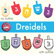 Dreidel Clip Art with Line Art, shows every side.