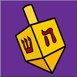 Clip Art: Hanukkah: Dreidel Color I abcteach.com.