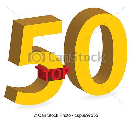 Clipart Vektor von gold, symbol, Freigestellt, 50, Oberseite, 3D.