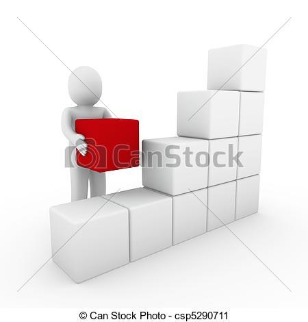 Clipart von kasten, würfel, menschliche, weißes, rotes, 3D.