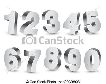 Vektor Clipart von Dreidimensional, Zahlen.