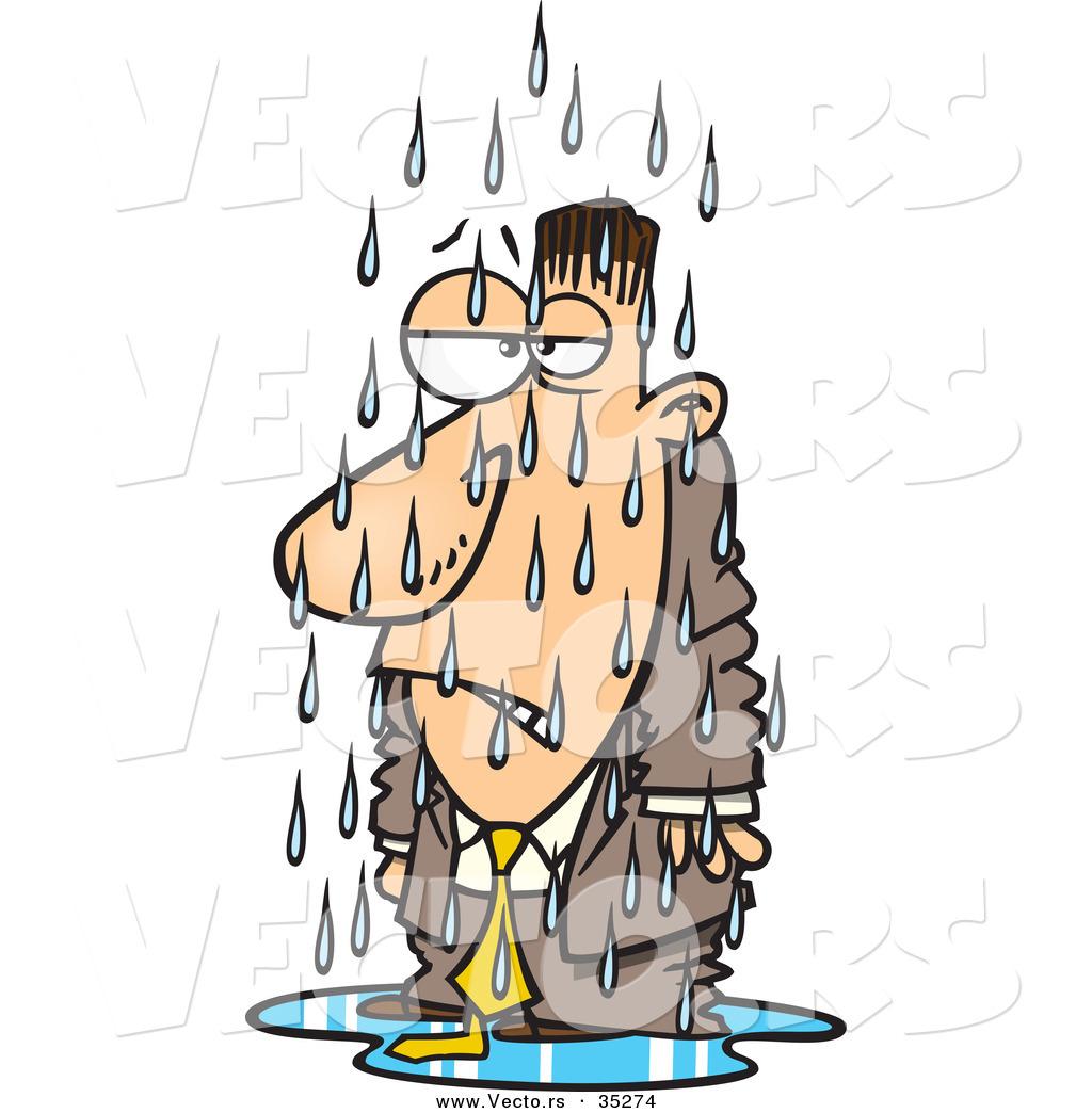 Man in the rain clipart.