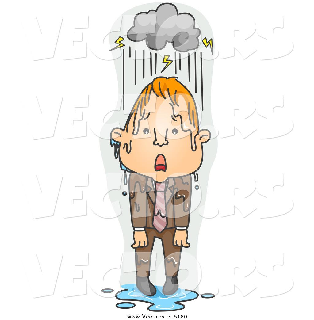 Person in the rain clipart.