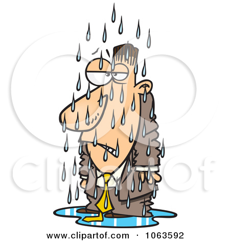 Clipart Soaked Caucasian Businessman.