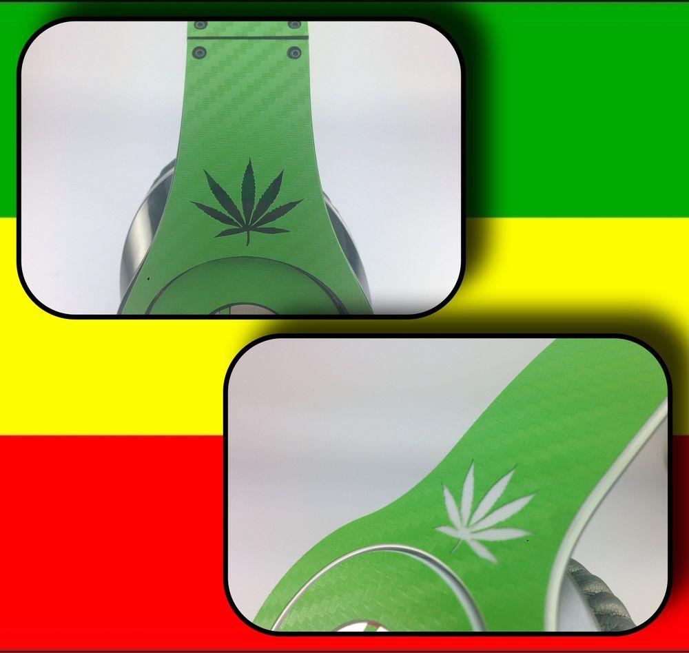 Cannabis Rasta Carbon Fibre Skin Sticker For Dr Dre Beats Studio.