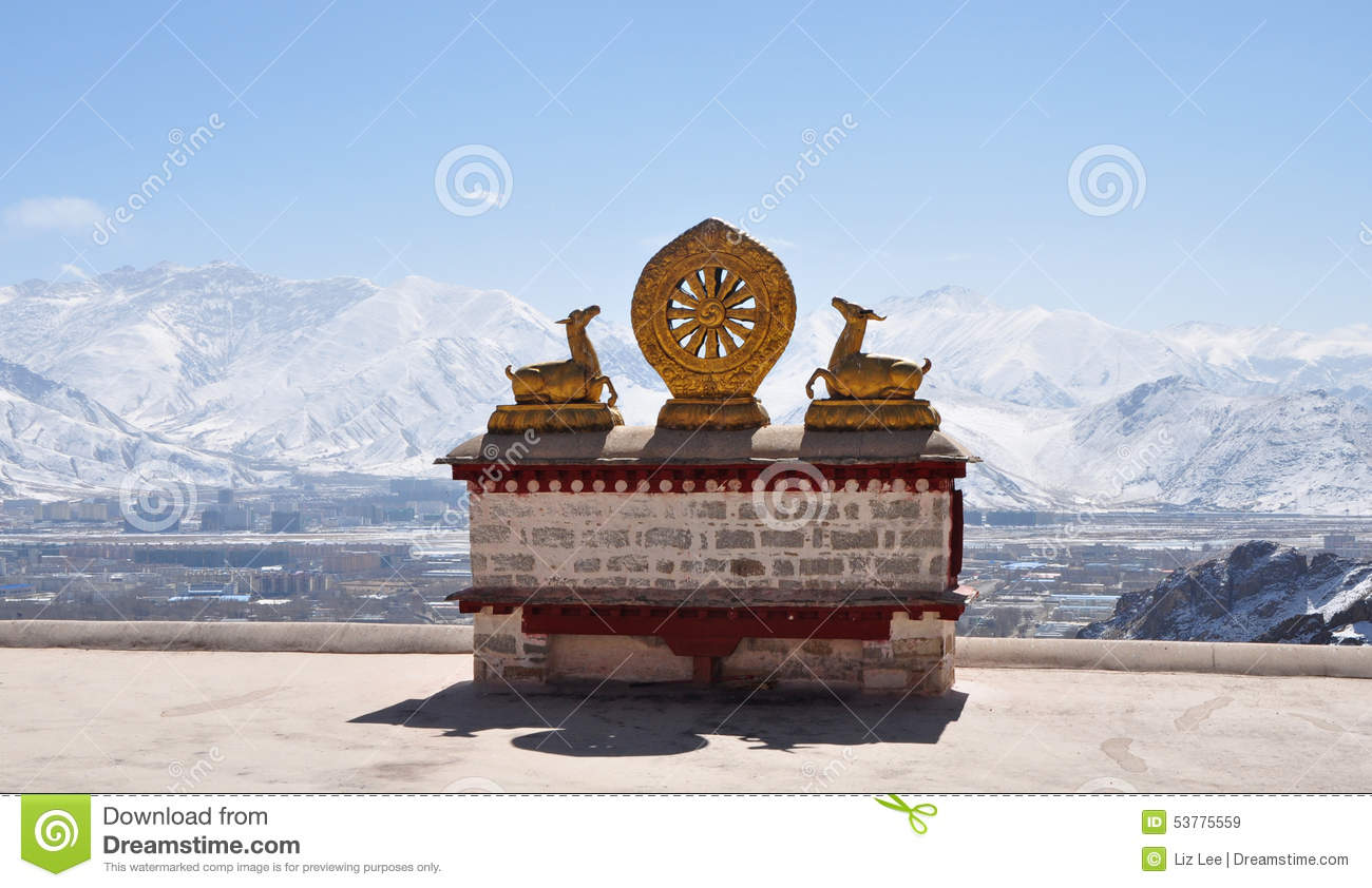 Two Golden Deer Flanking A Dharma Wheel On Drepung Monastery.