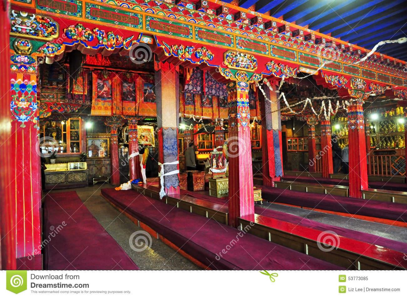 Drepung Monastery Interior Editorial Image.