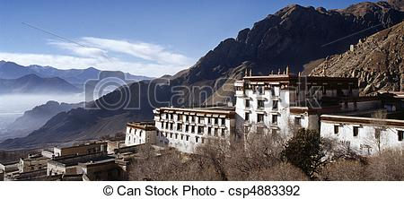 Stock Photo of Old buildings in the Buddhist Drepung Monastery.