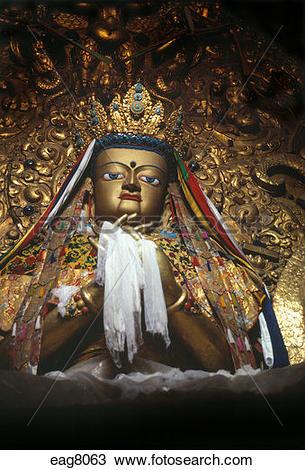 Stock Photo of Maitreya Buddha statue in Pradun Tse chapel.
