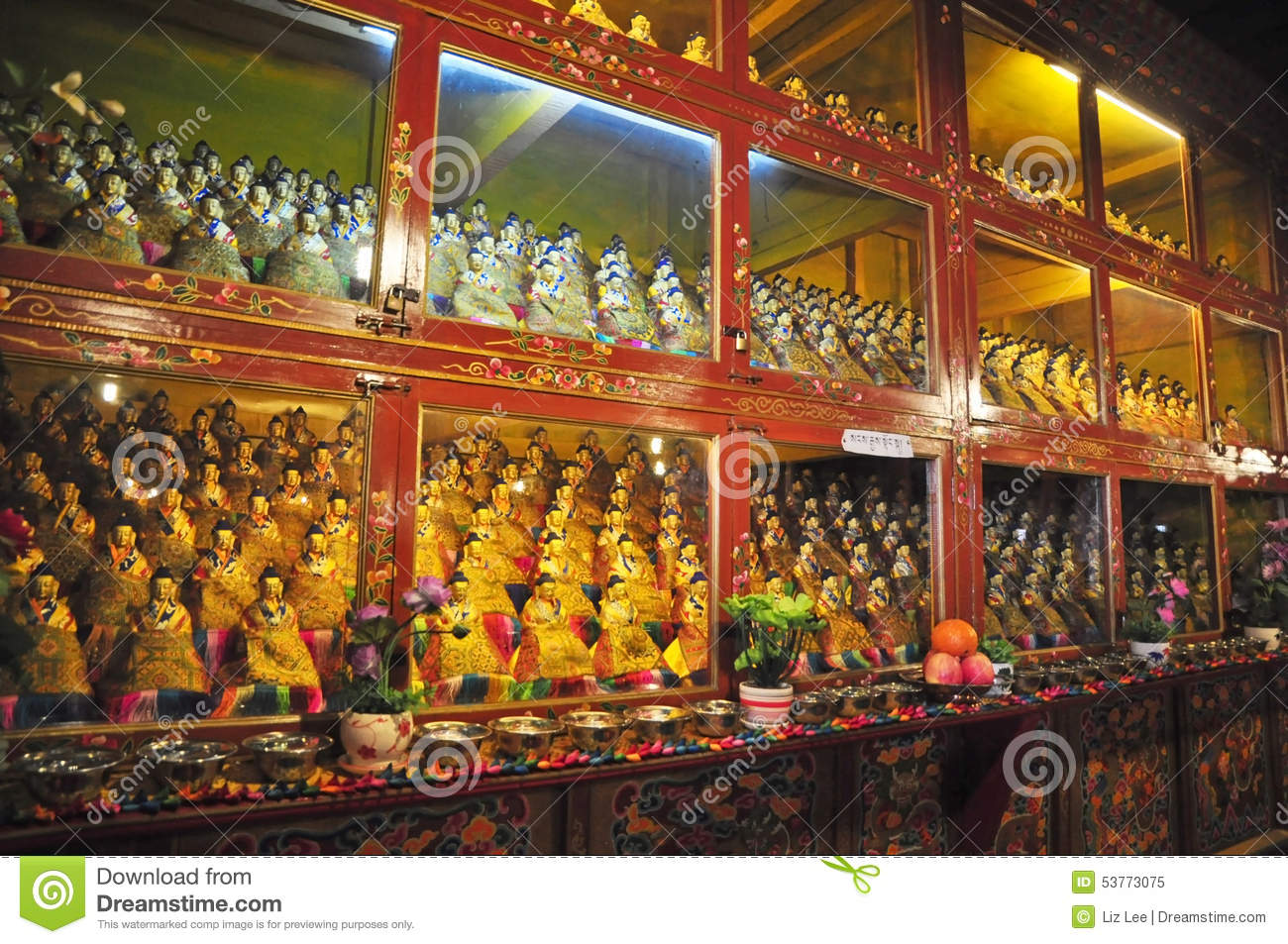 Religous Statues In Drepung Monastery Editorial Image.
