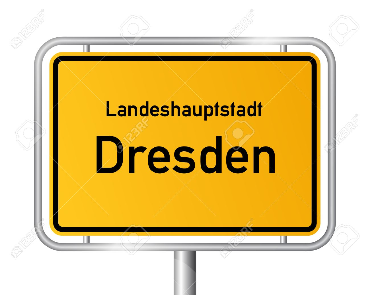 City Limit Sign DRESDEN Against White Background.
