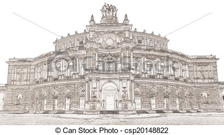 Clip Art of Semperoper Dresden.