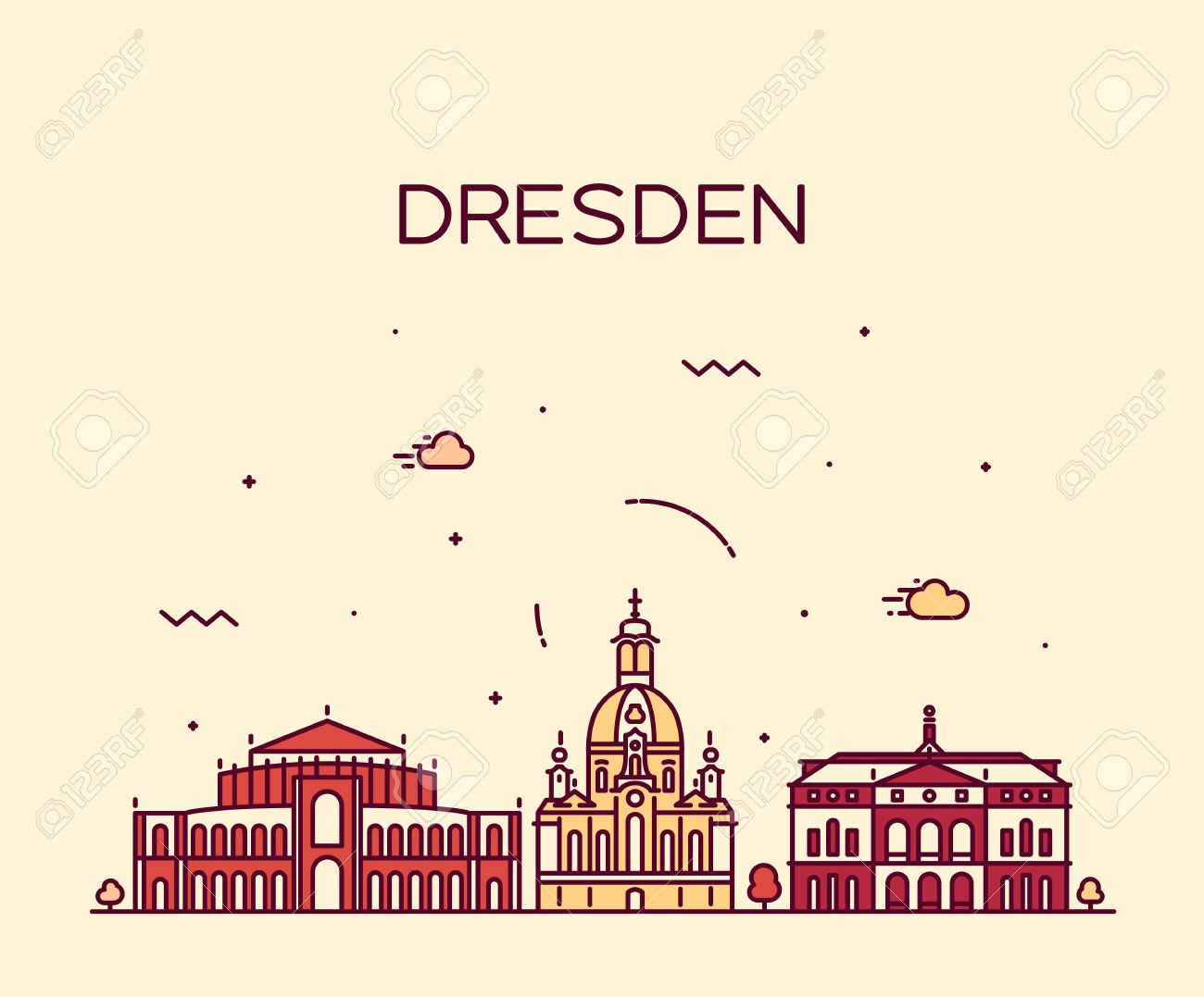 Dresden Skyline Detailed Silhouette Trendy Vector Illustration.