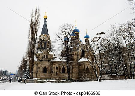 Stock Image of Church of St. Simeon Divnogorsk in Dresden Germany.