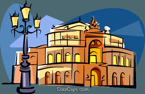 Germany Dresden Opera Royalty Free Vector Clip Art illustration.