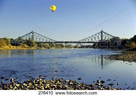 Stock Photography of Suspension railway bridge across river, Elbe.