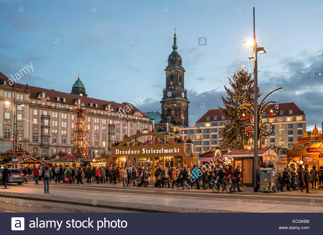 Christmas Striezel Market In Dresden, Saxony, Germany..