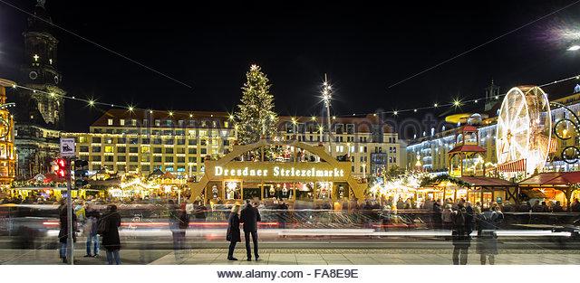 Striezelmarkt Christmas Market In Dresden Stock Photos.