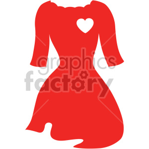 red dress with arms svg cut file clipart. Royalty.