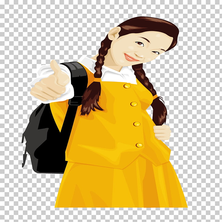 Dress Clothing Computer file, Yellow dress girl braids PNG.